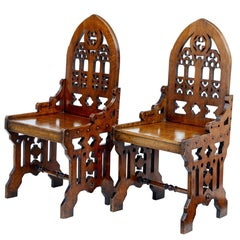 Pair of 19th Century Gothic Revival Carved Oak Hall Chairs