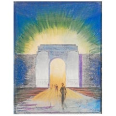 """American Olympics 1928,"" Spectacular Art Deco Drawing of Stadium Entrance"