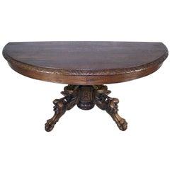 French Oak Hunt Demilune Table, circa 1880