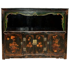 Antique Scholar's Chest with Painted Pomegranates, Open Light Bookcase
