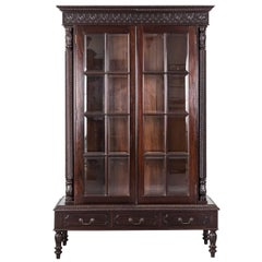 Antique Anglo-Indian or British Colonial Rosewood Cabinet on Stand