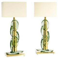 Pair of Amazing Murano Green Glass