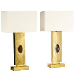Pair of Etched Brass Inlaid Agate Table Lamps by Lova Creation