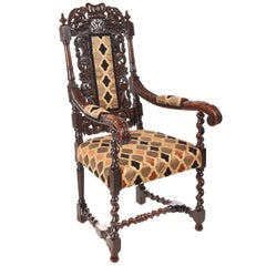 Fantastic Antique Carved Oak Throne Chair