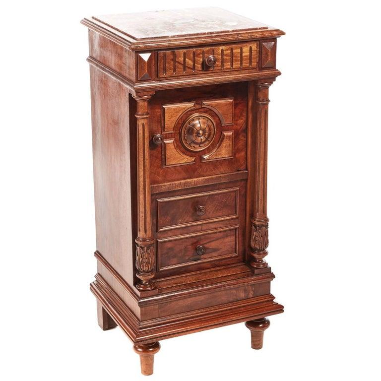 Unusual French Walnut Bedside Cabinet