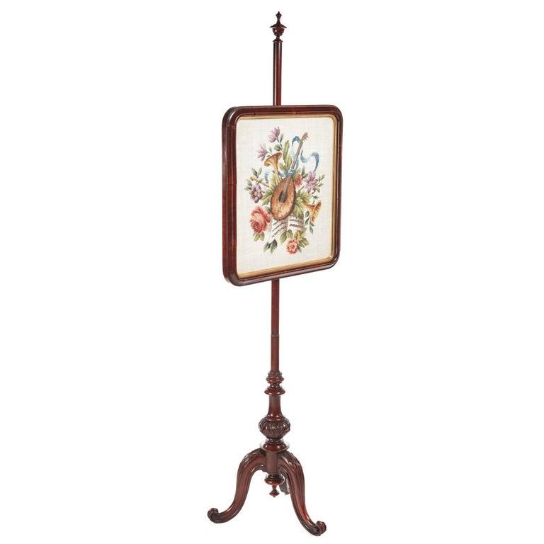 Quality Victorian Mahogany Pole Screen