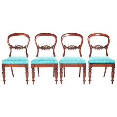 Set of Four Victorian Mahogany Balloon Back Dining Chairs