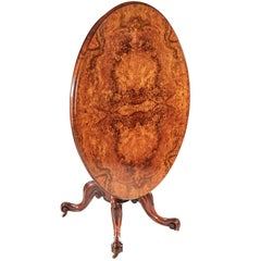 Fine Quality Oval Victorian Burr Walnut Centre Table