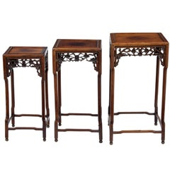 Set of Three 19th Century Carved Chinese Hardwood Nest of Tables
