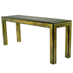 Bernhard Rohne Acid Etched Brass Console Table by Mastercraft