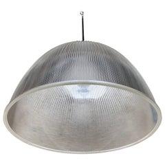 Large 1950s Holophane Industrial Glass Pendant Light Fixture