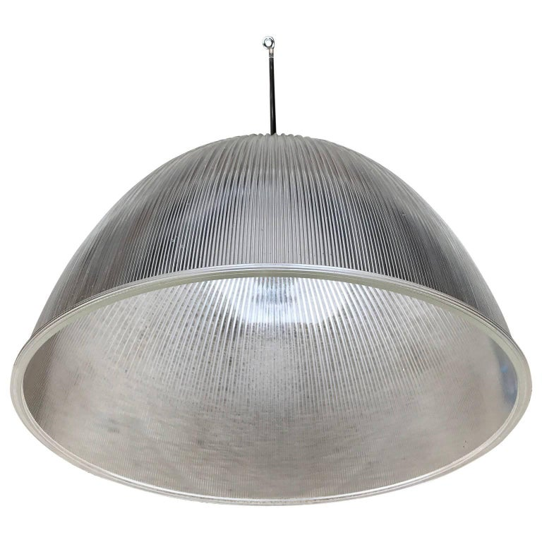 Large 1950s Holophane Industrial Glass Pendant Light