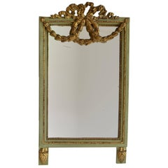 19th Century Brocaded Portrait Mirror Green Wood Framed with Gold Accents
