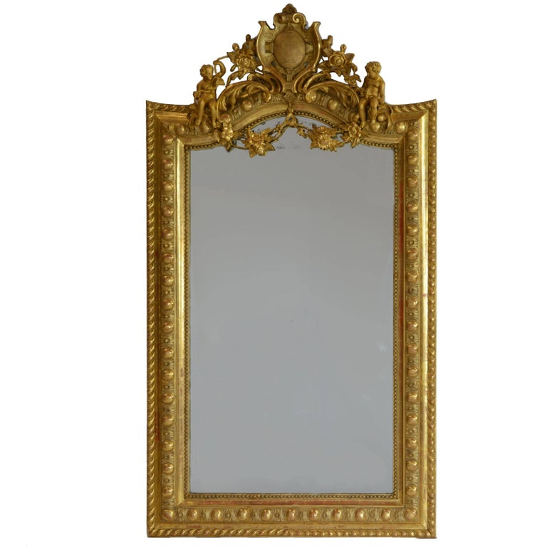 Large French 19th Century Ornate Giltwood Carved Mirror Louis XV Style Mirror For Sale