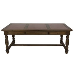 19th Century Oversized Walnut Table with Leather Inserts Top