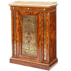 English William IV Period Olivewood and Brass Inlaid Cabinet