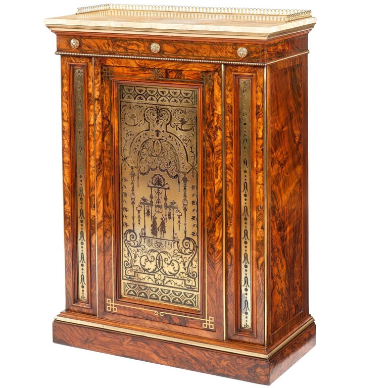 19th Century English Olivewood and Brass Inlaid Cabinet