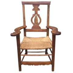 18th-19th Century Provencial Italian Chair, Walnut with Rush Seat