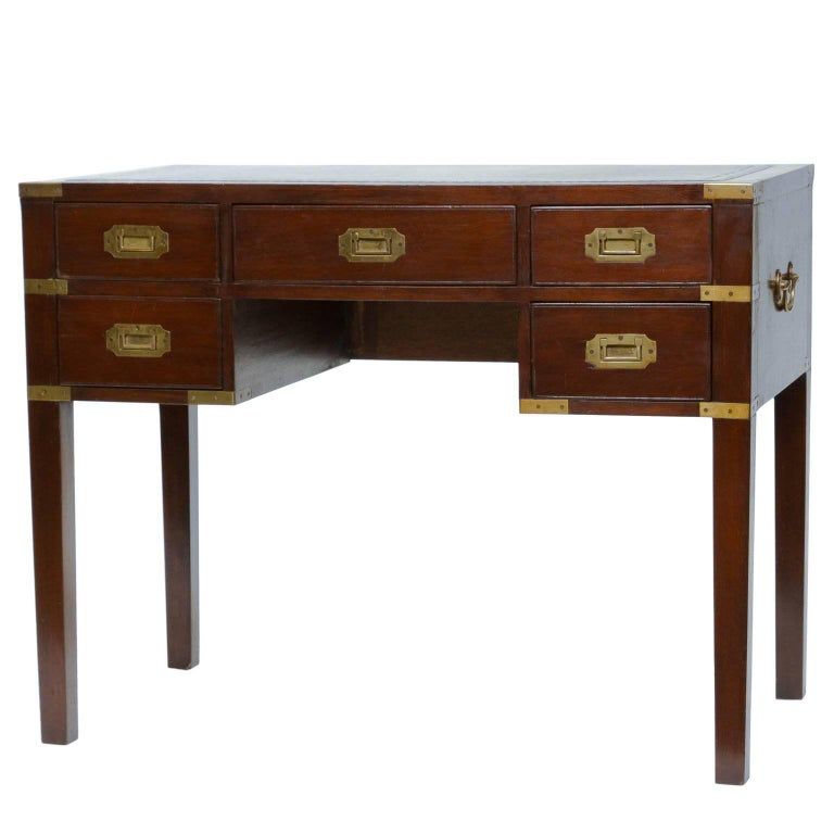 Vintage Campaign Style Writing Desk For