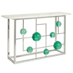 Globo Lucite and Nickel Fretwork Console