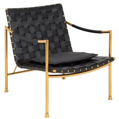 Thebes Leather and Brass Lounge Chair