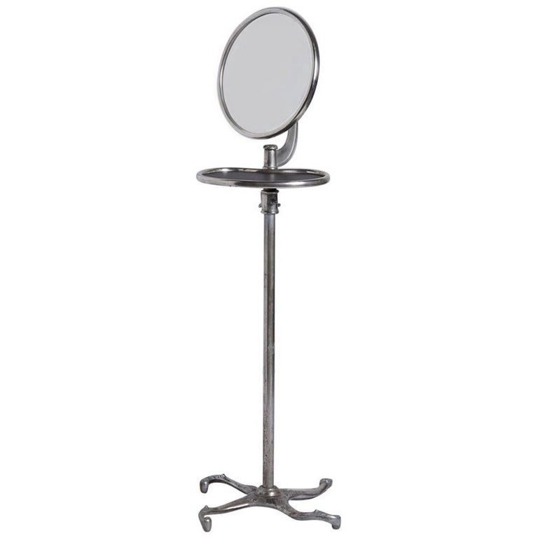 Nickel plated standing mirror with shelf circa 1900 for for Full length mirror with shelf