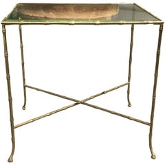 20th Century Bronze Bamboo Table Attributed to Maison Bagues