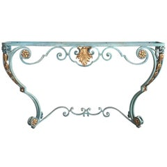 French Wrought Iron Console Table with Scrolling Apron, Without Top, circa 1910