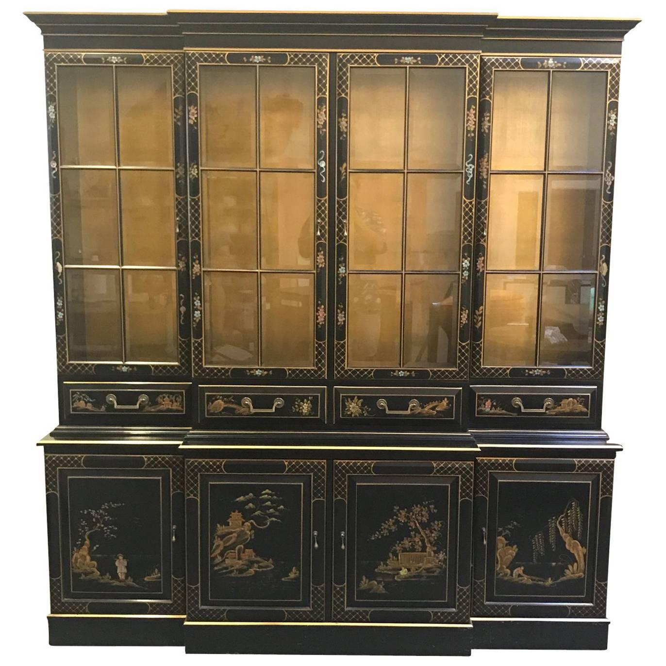Black and Gold Karges Style Chinoiserie China Cabinet For Sale at ...