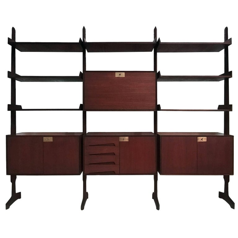 Italian Teakwood freestanding Bookcase by Palutari for Vittorio Dassi, 1950s For Sale