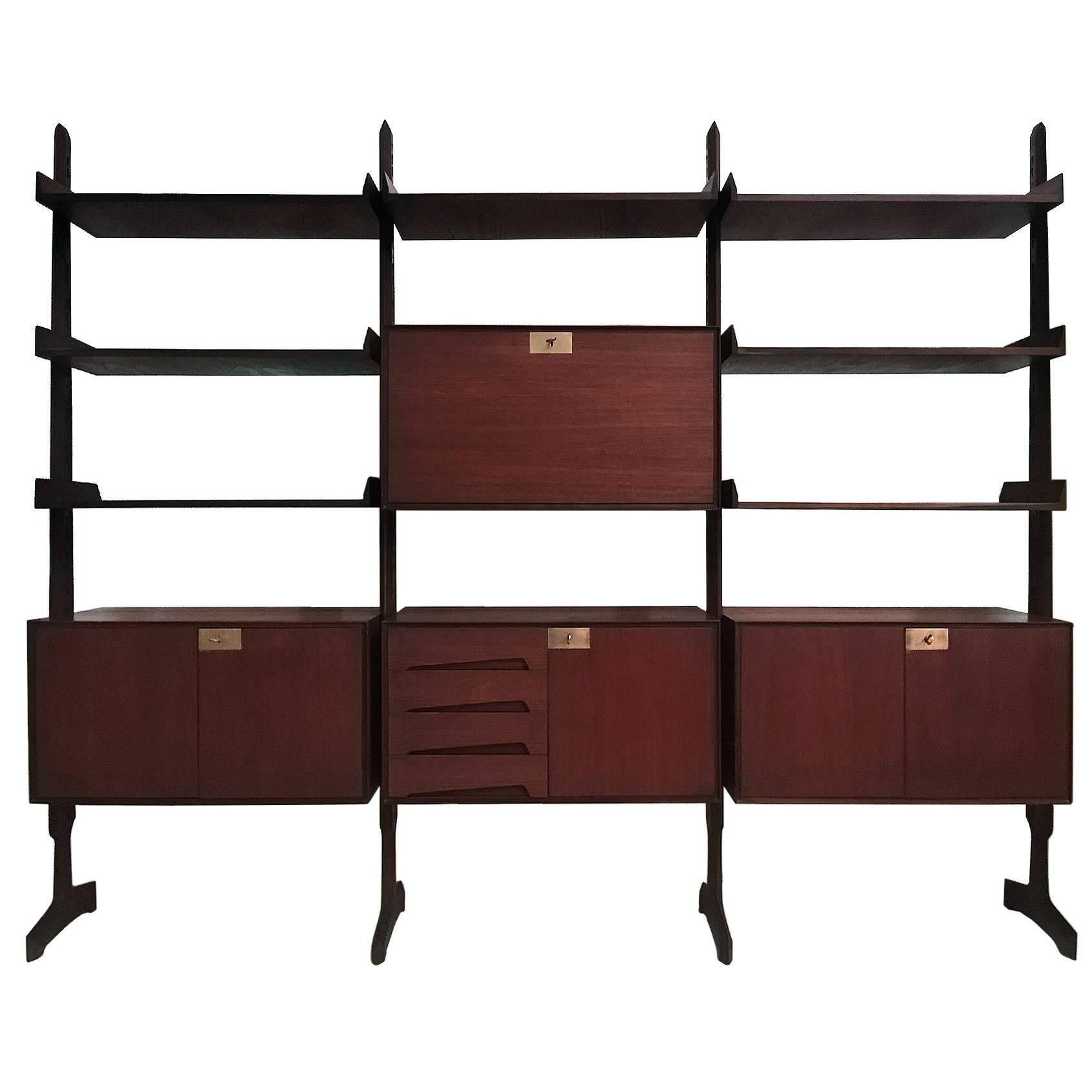 midcentury modern italian bookcase by palutari for dassi 1950s