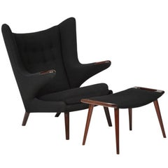 Hans Wegner Papa Bear Chair and Ottoman Teak A.P. Stolen Signed Denmark, 1960s