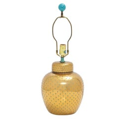 Gold Ceramic Table Lamp Turquoise Dots Signed, 1970s