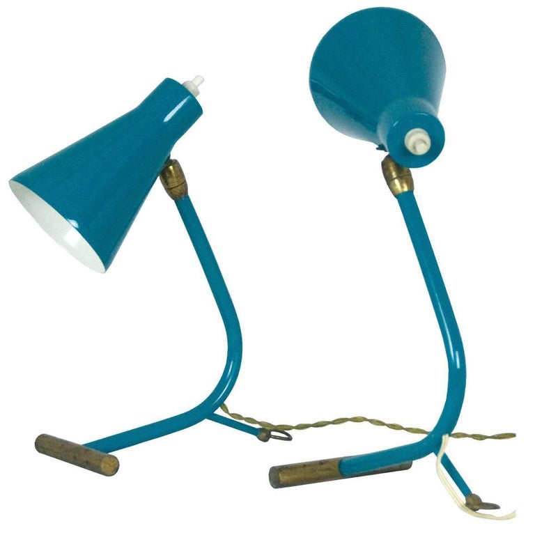 Pair of Midcentury Italian Brass and Metal 1950s Table Lamps