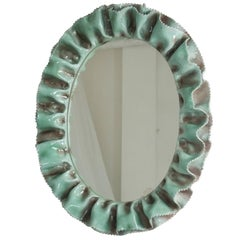 Italian Glazed Ceramic 1950s Wall Mirror from La Farnesiana, Parma