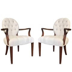 Pair of Dorothy Draper Style Tufted Armchairs