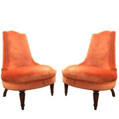 Pair of Regency Orange Velvet Slipper Chairs