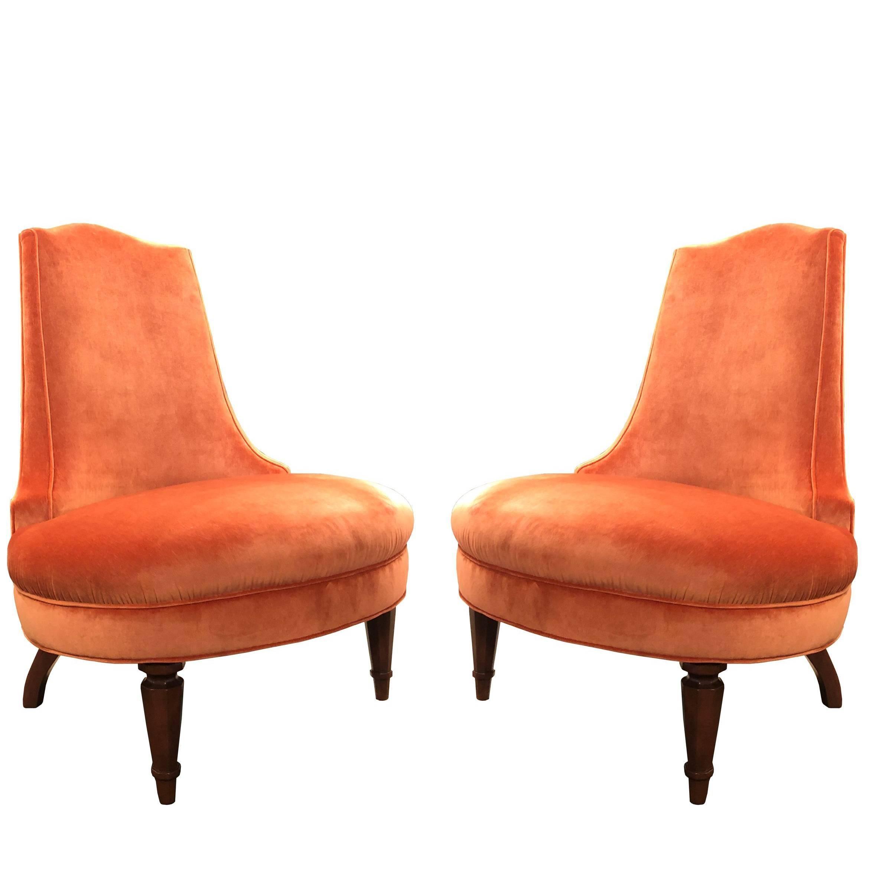 Pair Of Regency Orange Velvet Slipper Chairs For Sale