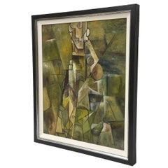 Midcentury Signed Cubist Oil Painting Custom Framed