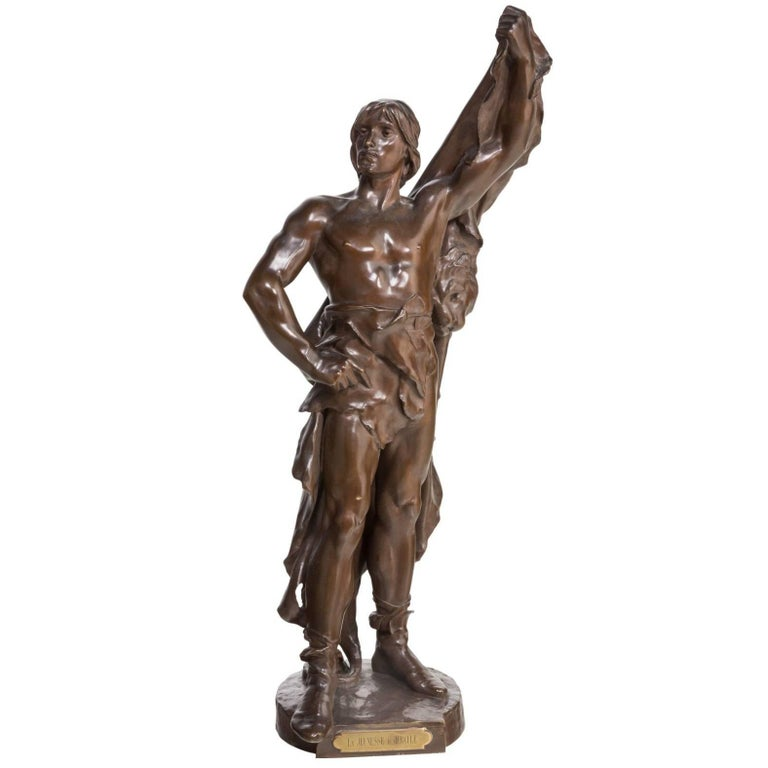 Eugene Marioton Large Bronze of Young Hercules For Sale