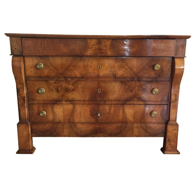 19th Century French Empire Walnut Commode Dresser