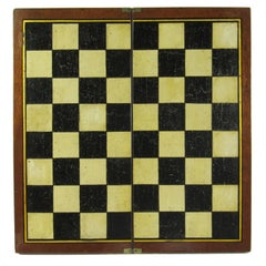 Folk Art Antique Painted Mahogany Folding Chessboard Probably English