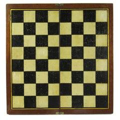 Folk Art Antique Painted Mahogany Folding Chessboard Probably English