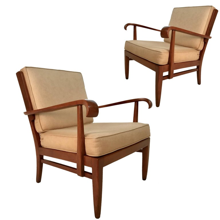 Stunning Pair of Sleek Armchairs by Willhelm and Walter Knoll for Knoll Antimott For Sale