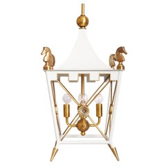 Rider Brass Pagoda Pendant Light in White