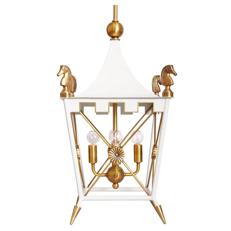 Rider Brass Pagoda Pendant Light in White
