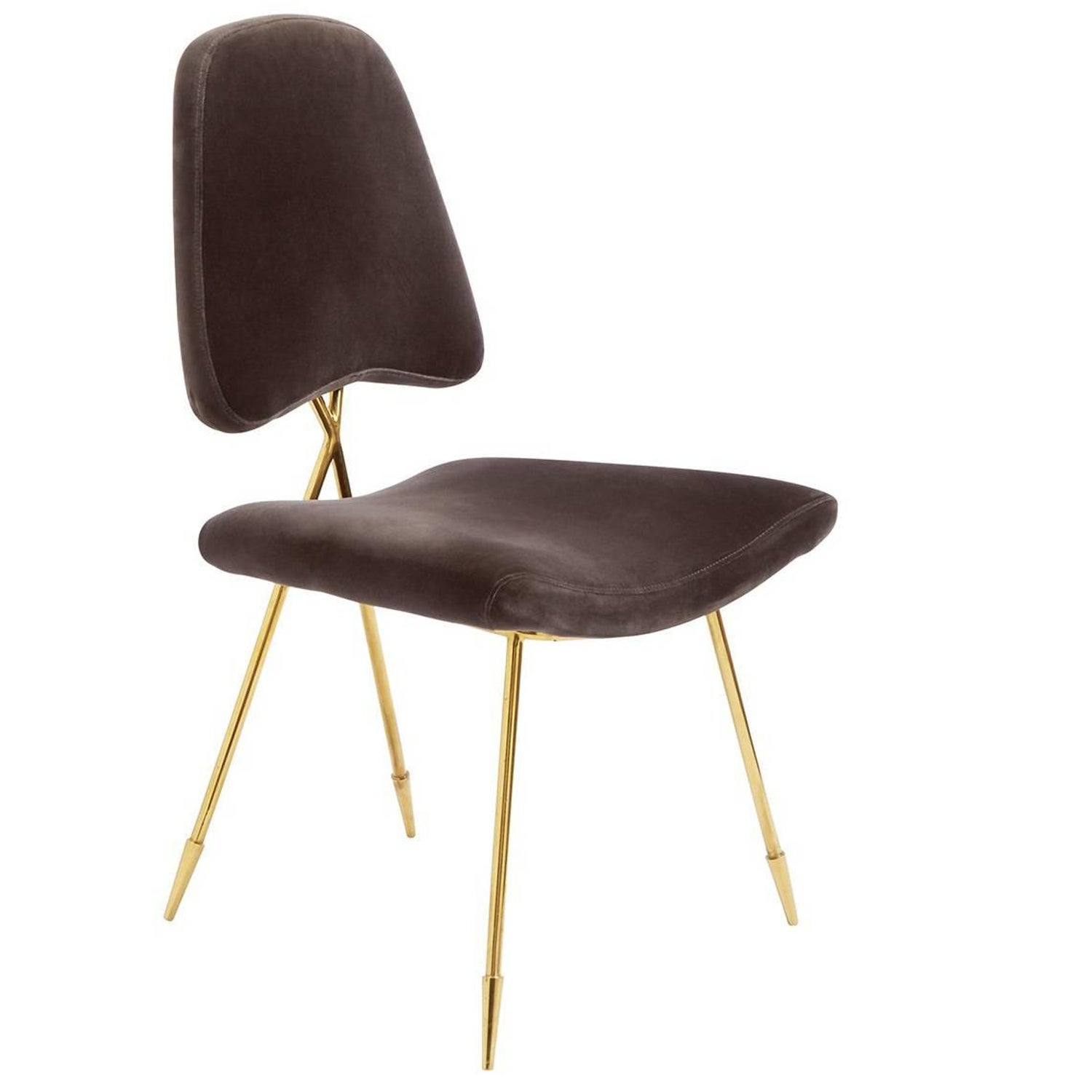 Maxime Velvet and Brass Dining Chair For Sale at 1stdibs