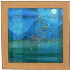 Mid-Century Modern Lake Como Painting Signed Pucci