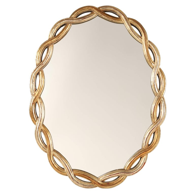 Oval Mirror With Braided Giltwood Frame Circa 1960s
