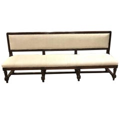 Long Upholstered Bench with Back, Italy, circa 1860